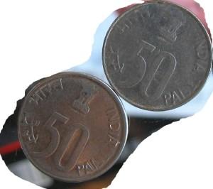 50 paisa coins