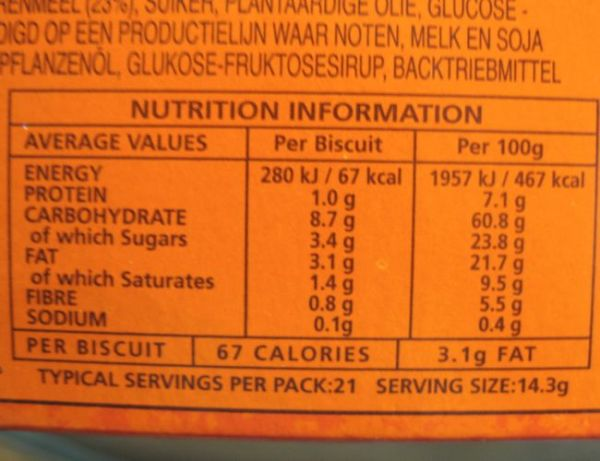 hobnobs nutritional information