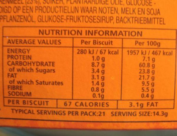 hobnobs nutritional information