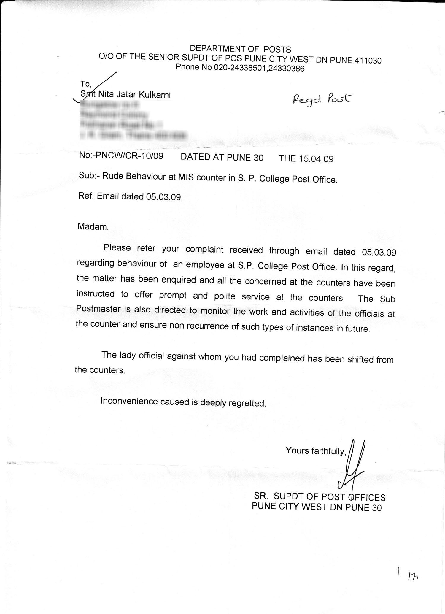 Photo : Complaint Letter Example Sample Letters Images