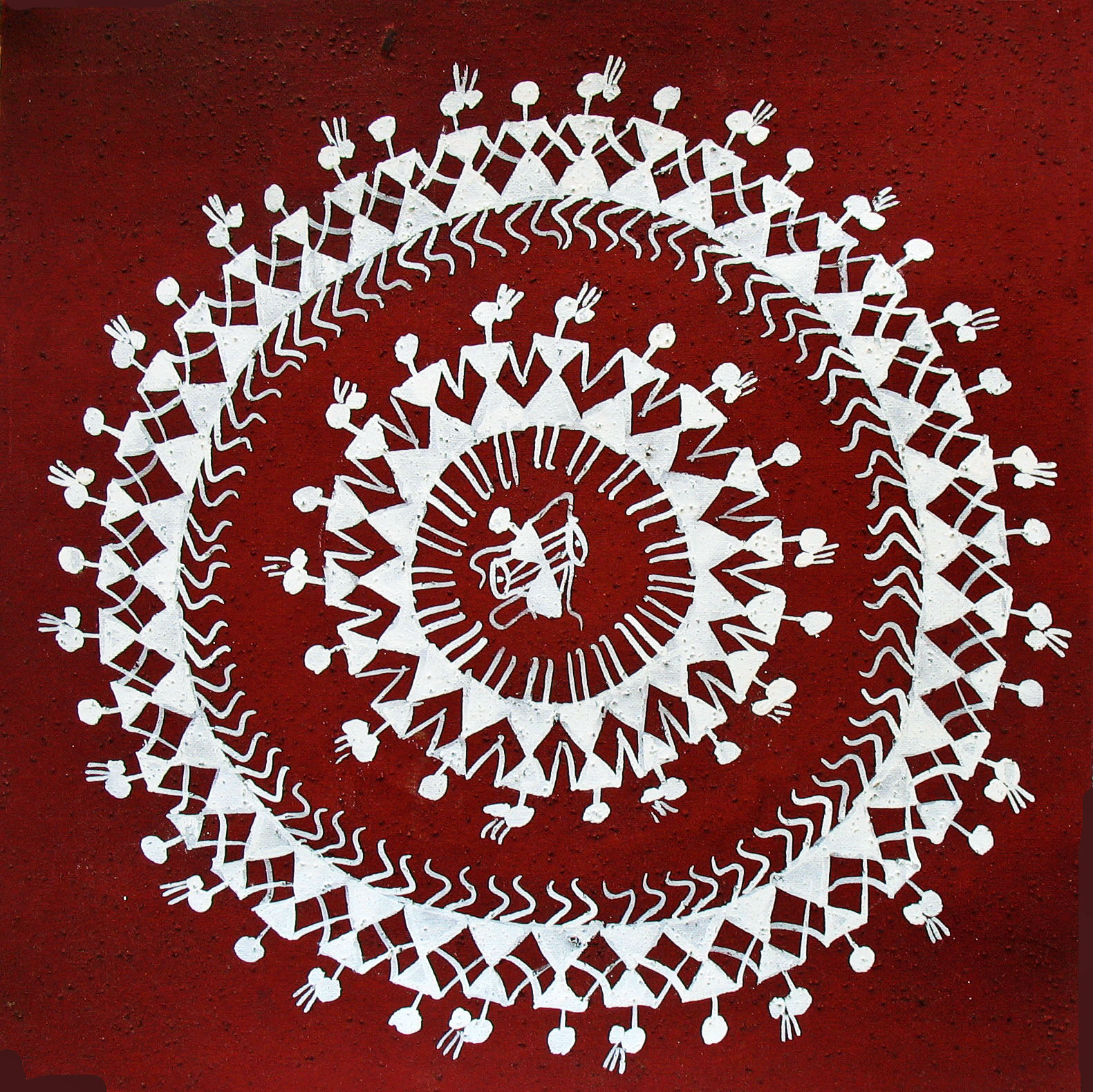 warli painting red background