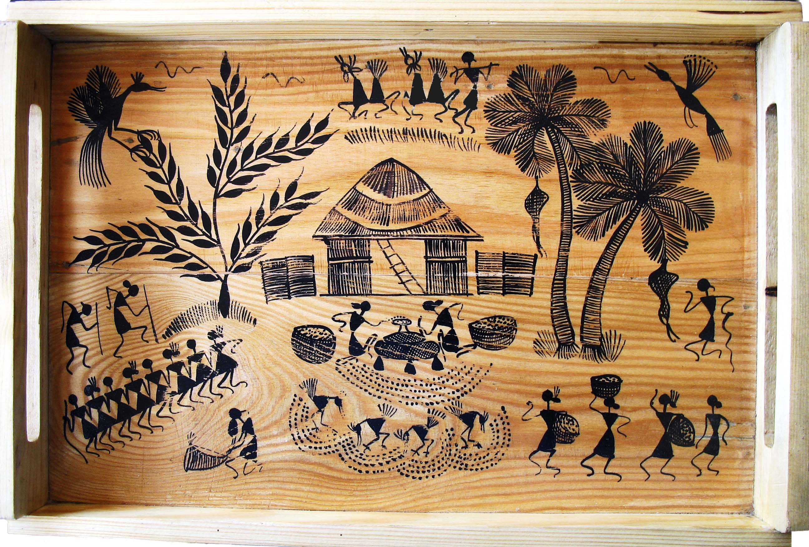 wooden tray warli painting
