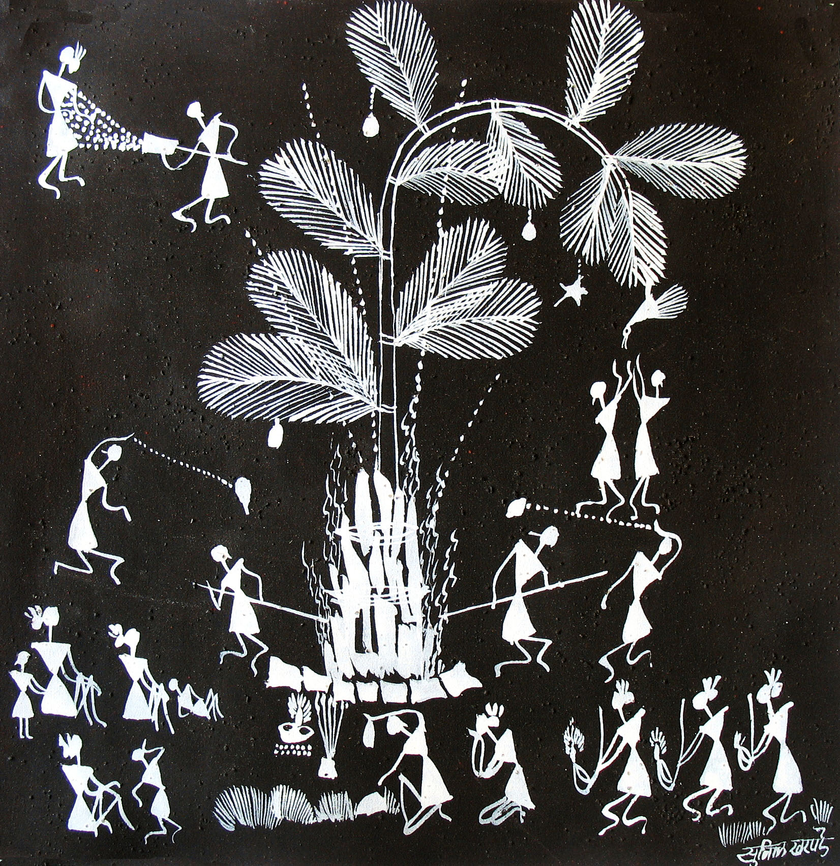 warli painting black background